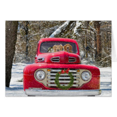 Christmas Dogs In Old Truck Card at Zazzle