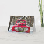 """Christmas dogs in old truck holiday card<br><div class=""""desc"""">Pair of Golden Retrievers in an old red truck with wreath in snow.</div>"""