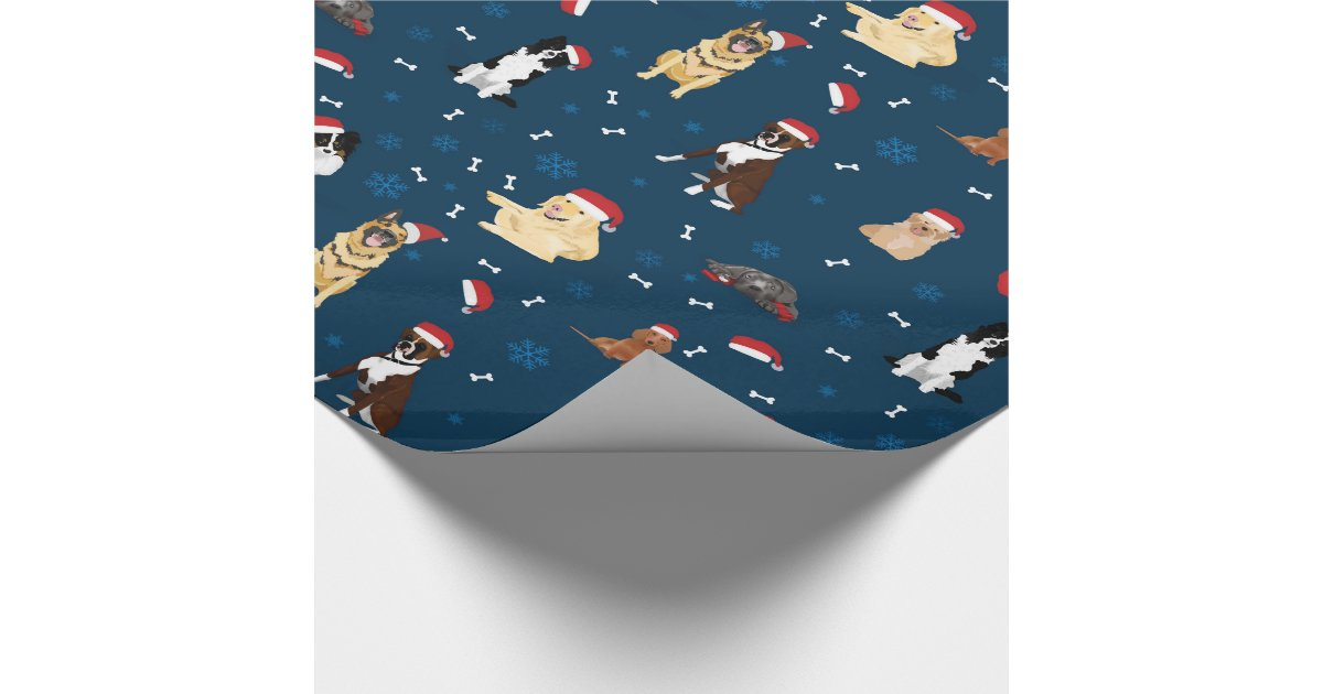 Christmas Dogs in Santa Hats Wrapping Paper