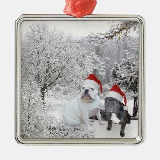 Christmas dogs metal ornament