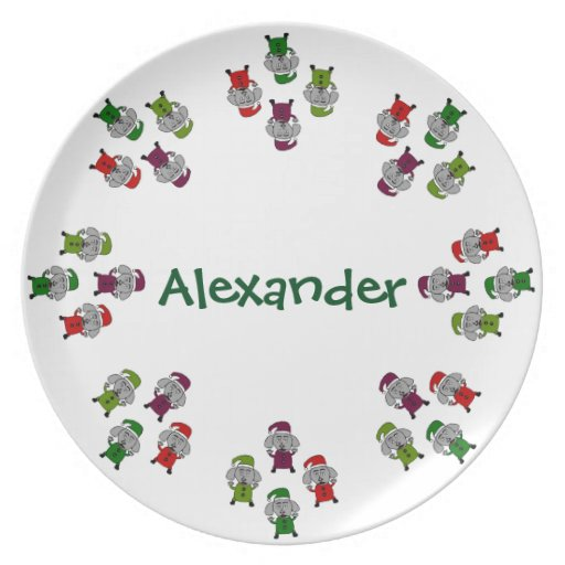 Christmas Dogs Personalized Dinner Plate Zazzle