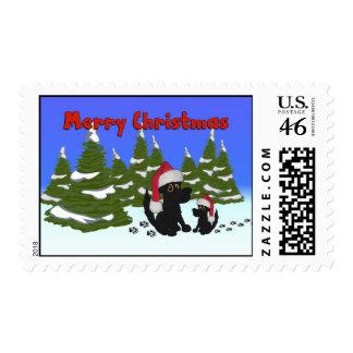 Christmas Dogs Postage Stamp