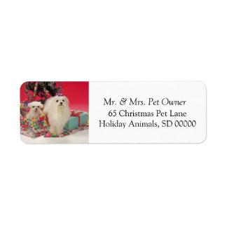 Christmas Dogs SelfAdhesive Return Address Sticker Label