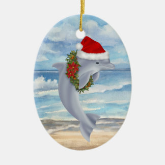 Christmas Dolphin Ceramic Ornament