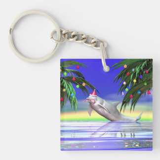 Christmas Dolphin Double-Sided Square Acrylic Keychain