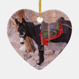 Christmas Donkey Double-Sided Heart Ceramic Christmas Ornament