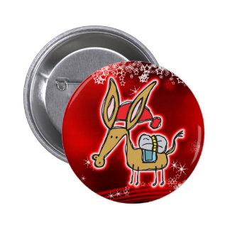 Christmas Donkey Pinback Button
