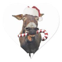 Christmas donkey - santa donkey - donkey santa heart sticker