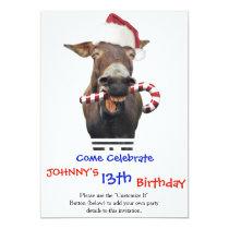 Christmas donkey - santa donkey - donkey santa invitation