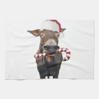 Christmas donkey - santa donkey - donkey santa kitchen towel