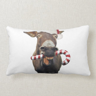 Christmas donkey - santa donkey - donkey santa lumbar pillow