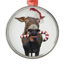 Christmas donkey - santa donkey - donkey santa metal ornament