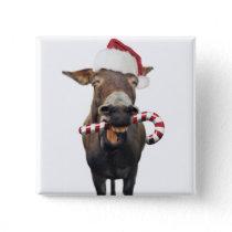 Christmas donkey - santa donkey - donkey santa pinback button