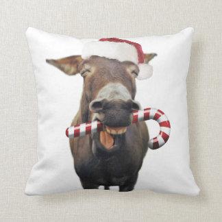 Christmas donkey - santa donkey - donkey santa throw pillow
