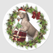 Christmas Donkey Santa Holiday Stickers