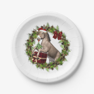 Christmas Donkey Santa Paper Plates 7 Inch Paper Plate
