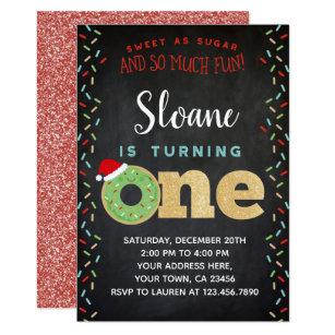 Christmas Donut 1st Birthday Invitation