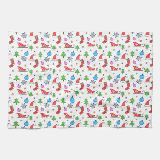Christmas doodle elements pattern hand towel