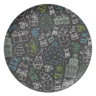 Christmas doodle pattern illustration plate