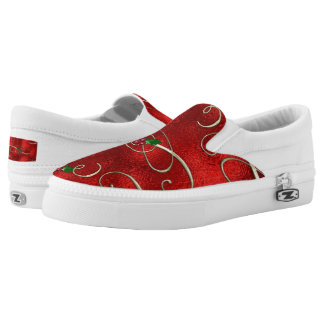 Christmas doodle pattern slip on shoes