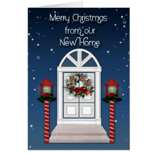 Christmas Door Address Change Greeting Card