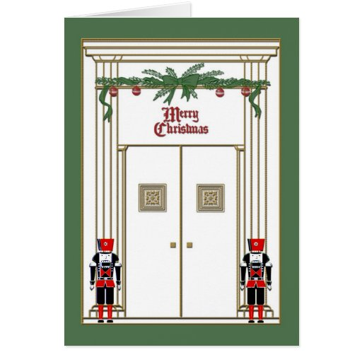 christmas door with nutcrackers cards