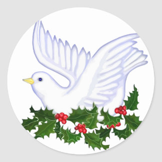 Christmas Dove and Holly Round Sticker