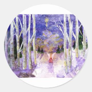 Christmas Dove Angel Classic Round Sticker