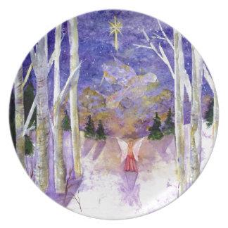 Christmas Dove Angel Melamine Plate