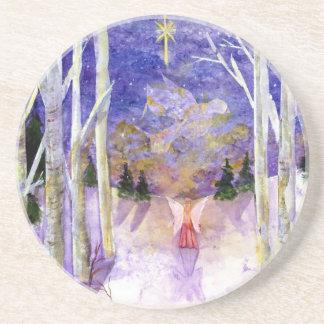 Christmas Dove Angel Sandstone Coaster