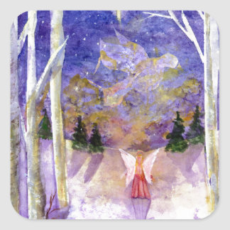 Christmas Dove Angel Square Sticker