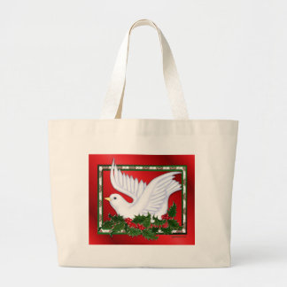 Christmas Dove & Holly Large Tote Bag
