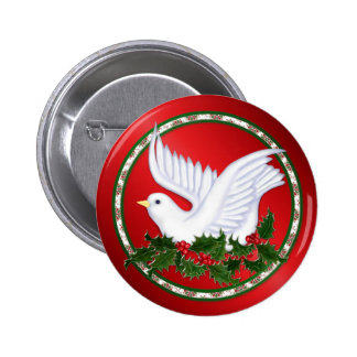 Christmas Dove & Holly Pinback Button