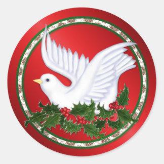 Christmas Dove & Holly Round Sticker