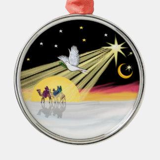 Christmas Dove Round Metal Christmas Ornament