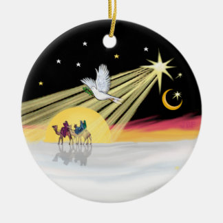 Christmas Dove Double-Sided Ceramic Round Christmas Ornament