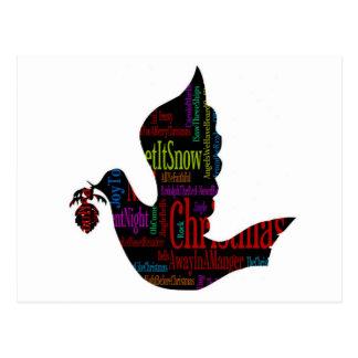 Christmas Dove with Christmas Songs Postcard