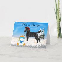 Christmas Draft Foal and Snowman Christmas Holiday Card