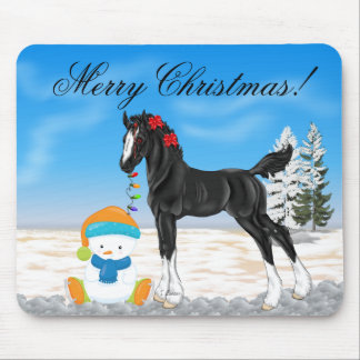 Christmas Draft Foal and Snowman Mouse Pad
