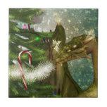 Christmas Dragon and Fairies Ceramic Tiles