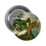 Christmas Dragon and Fairies Pinback Button