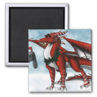 Christmas Dragon Card 2 Inch Square Magnet