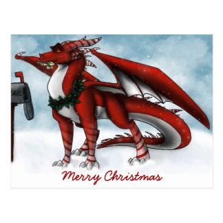 Christmas Dragon Card Postcard