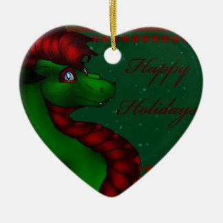 Christmas Dragon Ceramic Ornament