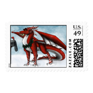 Christmas Dragon Postage Stamp