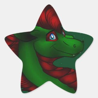Christmas Dragon Star Sticker