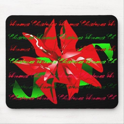 """""""Christmas Dreams"""" Christmas Flower Mousepad Mousepads"""