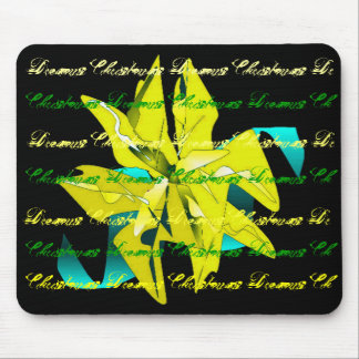 Christmas Dreams In Yellow Green Poinsettia I Mouse Pad