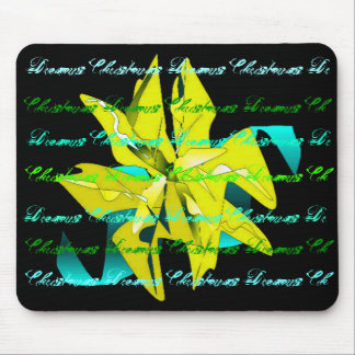Christmas Dreams In Yellow Green Poinsettia Mouse Pad