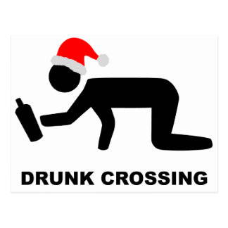 Christmas Drunk Crossing Sign Postcard